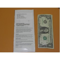 GENERIC One Single Use Dollar Bill Validator Cleaning Card