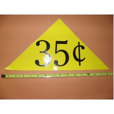 Large Yellow Price Triangle Vinyl Sticker 35¢
