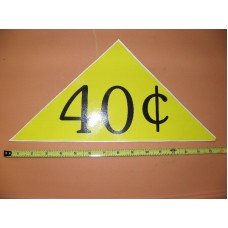 Large Yellow Price Triangle Vinyl Sticker 40¢