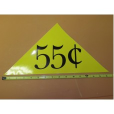 Large Yellow Price Triangle Vinyl Sticker 55¢