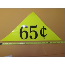 Large Yellow Price Triangle Vinyl Sticker 65¢