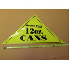 GENERIC Large Yellow Triangle 12oz CAN Vinyl Sticker