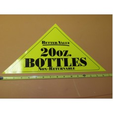 GENERIC Large Yellow Triangle 20oz BOTTLE Vinyl Sticker