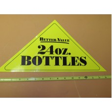 GENERIC Large Yellow Triangle 24oz BOTTLE Vinyl Sticker