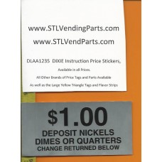 DIXIE Narco Instruction Price Labels 1.00