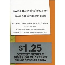 DIXIE Narco Instruction Price Labels 1.25