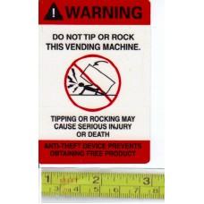STICKER Warning ENGLISH Do Not Tip or Rock this Vending Machine.