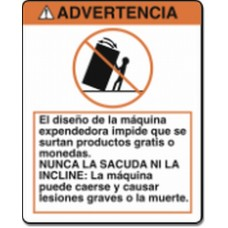 STICKER WARNING DO NOT Tip or Rock El diseno de la maquina In Spanish / Mexican