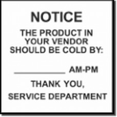 "STICKER Static Cling Notice Product Should be Cold by ___  4""x 4"""
