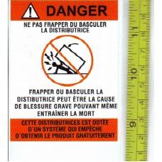 STICKER WARNING Do Not Tip or Rock FRENCH Ne Pas Frapper Du Basculer La Distributrice